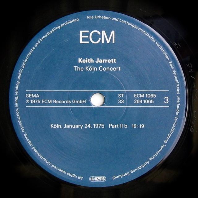 Koln Concert S 3 label