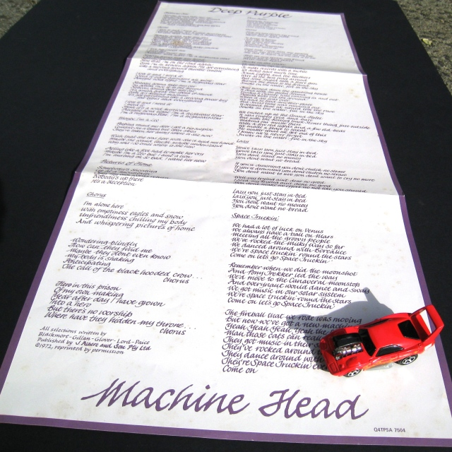 Deep Purple Machine Head lyric sheet