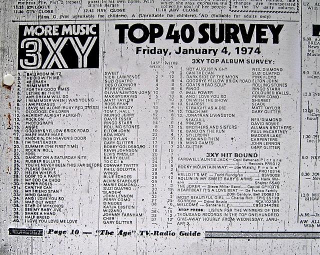 3 XY Top 40 January 1974