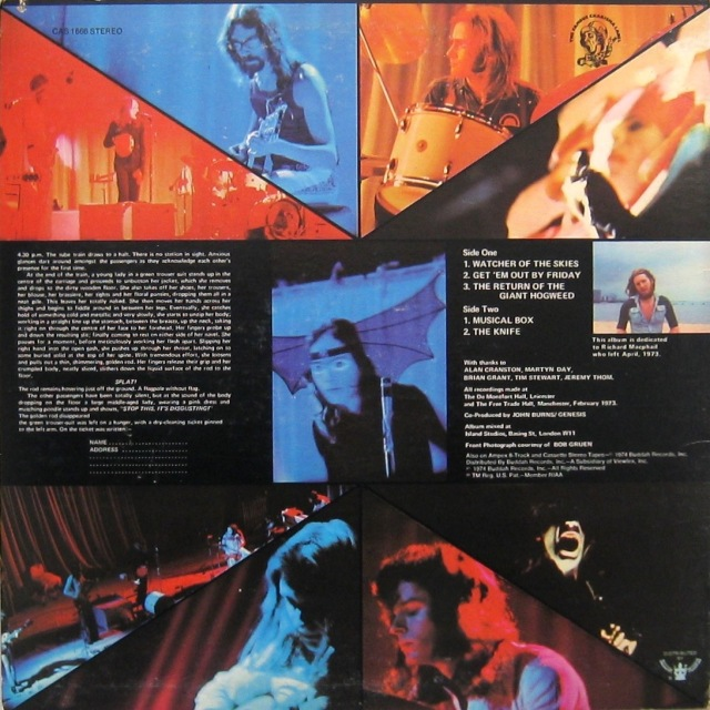 Genesis Live back cover