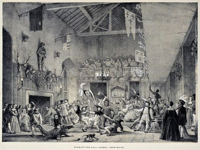 Christmas-revels-haddon-hall-joseph-nash-mansions-1839
