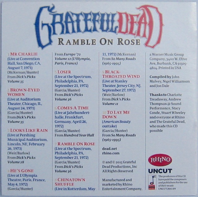 Grateful Dead Uncut CD back