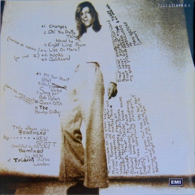 Bowie - Hunky Dory Back cover