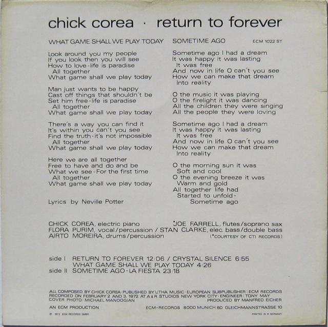 Return to Forever 1972 Back cover