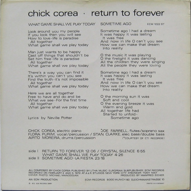 Return to Forever 1972 Back cover