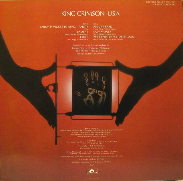 King Crimson USA Back cover